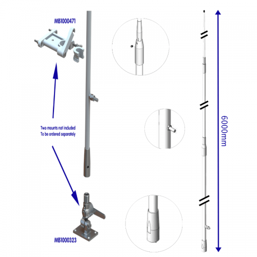 HF60003 6m three-part HF fiberglass antenna