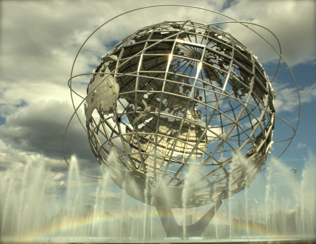 FED NYC Unisphere regenboog New York photos city trip rainbow mooie foto's Freedom Tower world trade centre beams