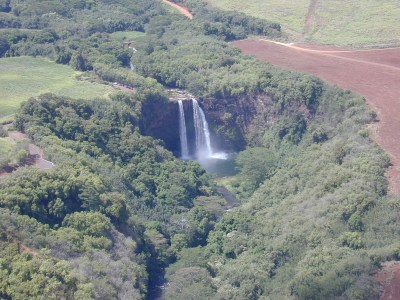 Helicopter view of Wailua Falls.
