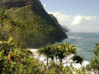 Hanakapiai Beach from the Na Pali coast hiking trail.
