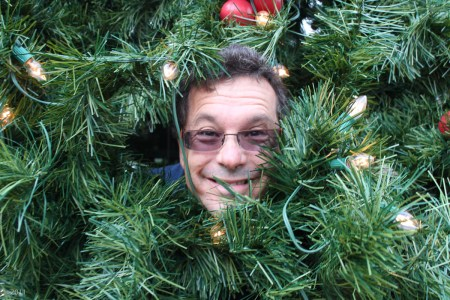 Tony was yucking it up INside the Christmas tree!