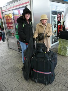 Daughter & Mom getting ready to jump the train from Nuremberg to Dusseldorf.