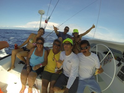 Here's ALL of the Kalewa crew on the first shake-down sail.