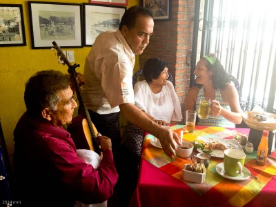 As soon as we set foot inside Gaby's, the music began, and the owners joined us at our table!