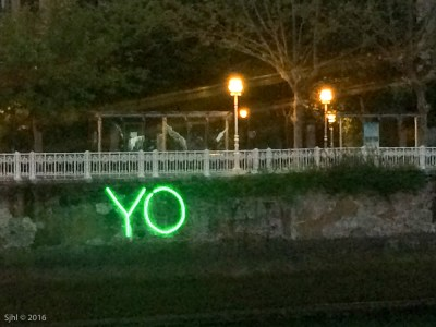 There was this cool exhibit on the river. YO = I.