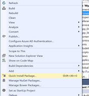Visual Studio project menu showing the Quick Install Package option