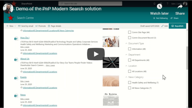 Demo of the PnP Modern Search solution