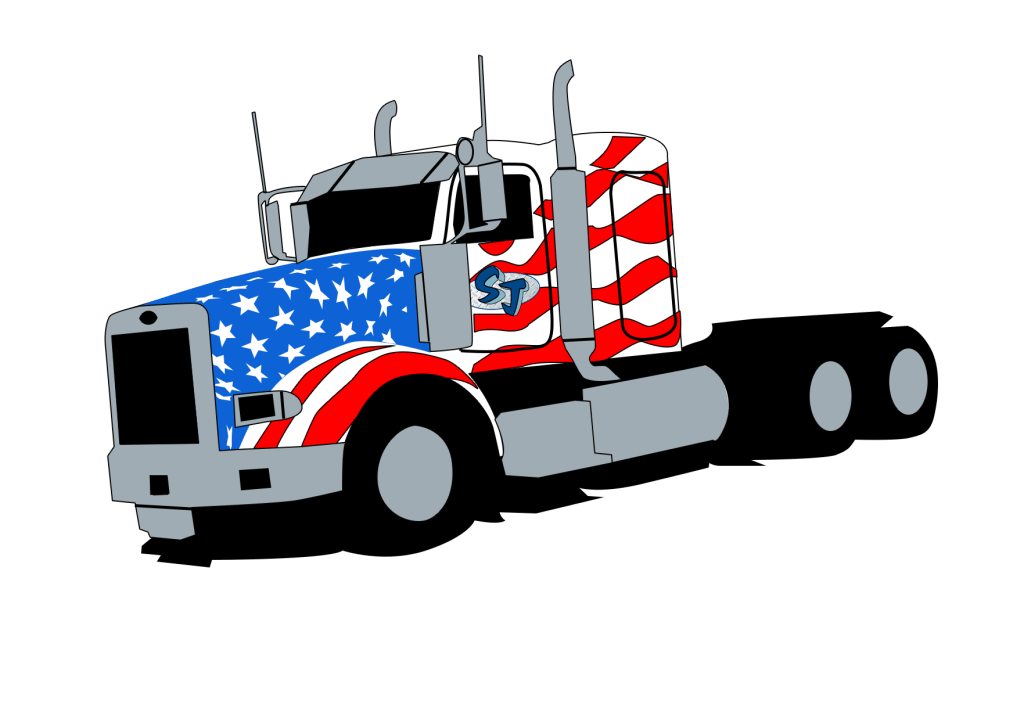 lowbed truck with american flag