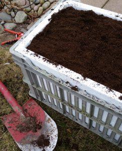 Jord överst i låda som är jordfabrik