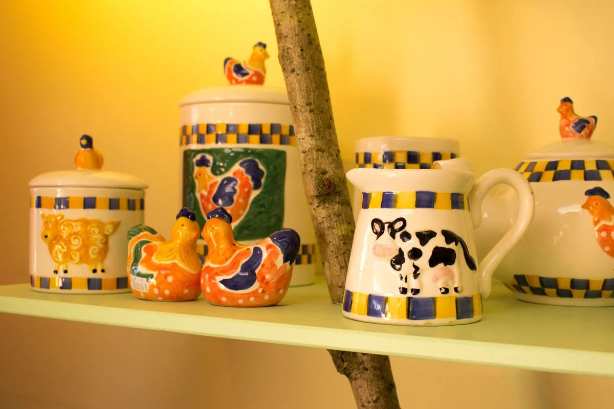 Colourful ceramics and earthenware in our hospice shop
