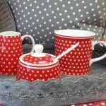 Porzellan Loffel Rot Mit Weissen Punkten Online Kaufen