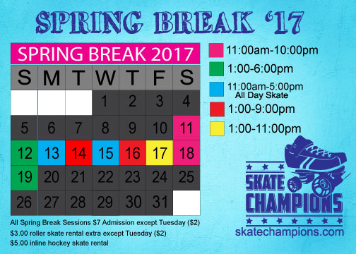 Skate Spring Break Mar 13th-17th