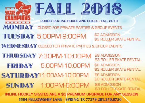 Fall 2018 Skating Schedule