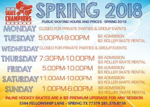 Spring Skating Schedule