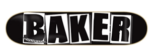 Baker Brand Logo Deck-8.0 Black/White Skateboard Deck - baker skateboard decks