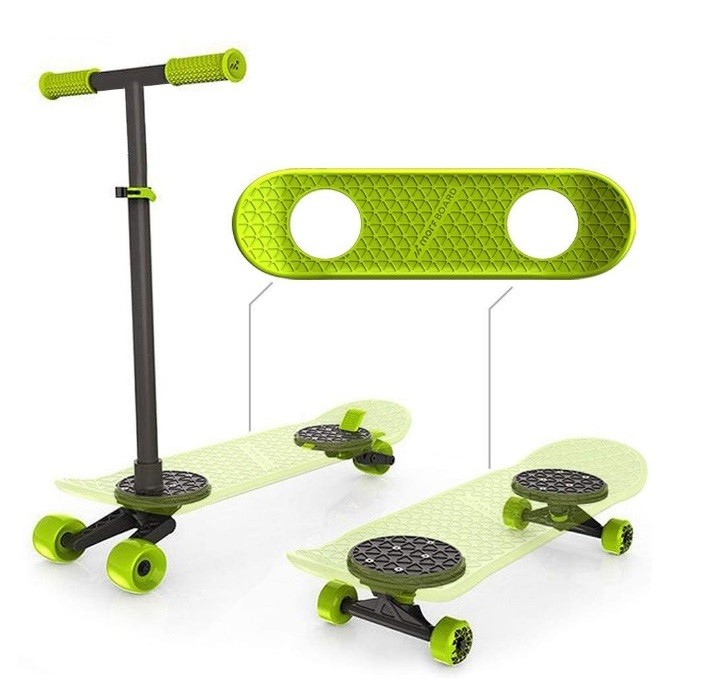 MORFBOARD Skate & Scoot Combo, 2-in-1 Kick Scooter for Kids with 3-Position Adjustable Height and Extra Wide Skateboard Deck
