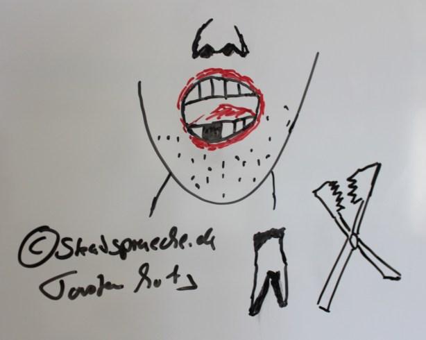 Am Whiteboard gezeichnet: unrasierter Mann mit offenem Mund und faulem Zahn, ein Zahn  liegt gezogen daneben mit einer Art Zange vom Zahnarzt