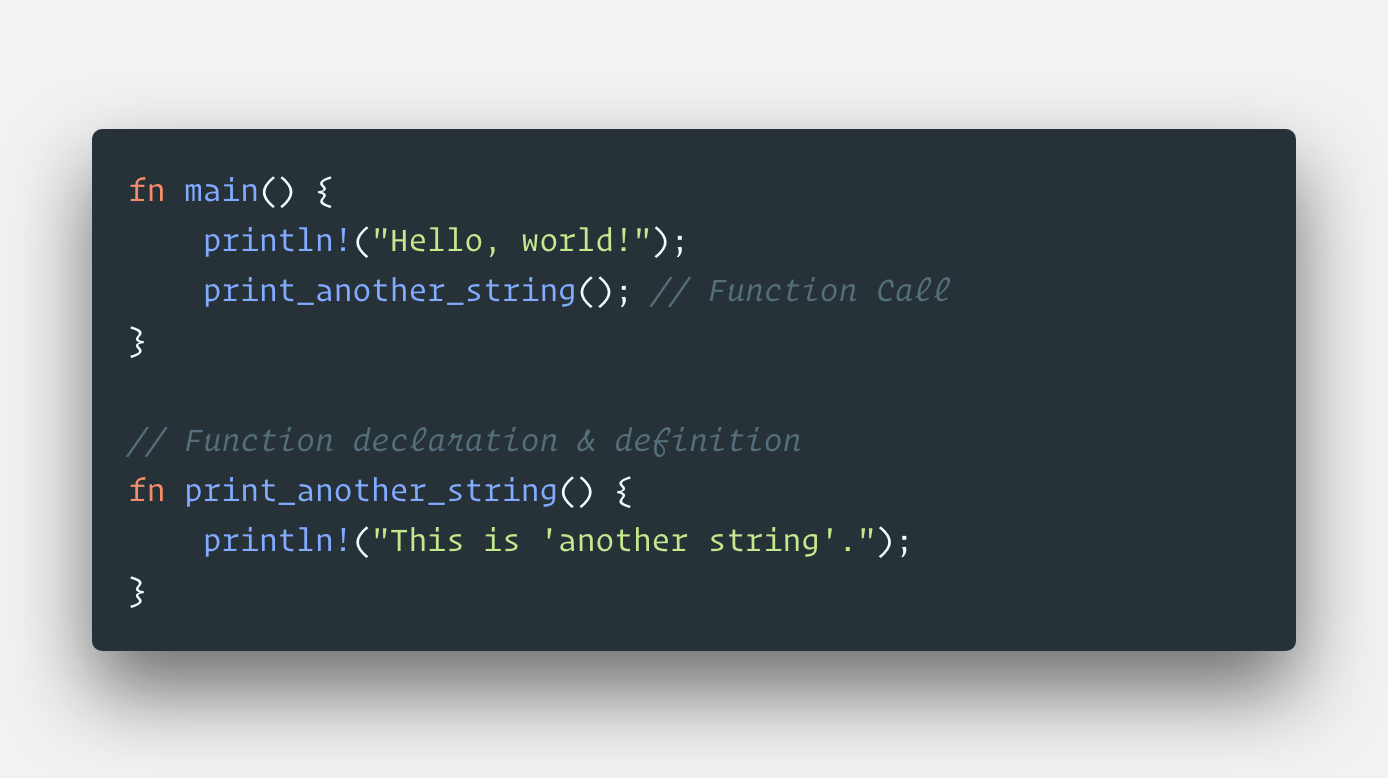 Like all other common programming languages. functions are extensive in Rust . The entry point of Rust code is the main method. Let's look at a ...