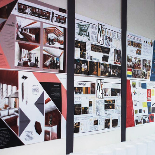 Vue de planches de tendances réalisés par des étudiants de l'école Créad Lyon.