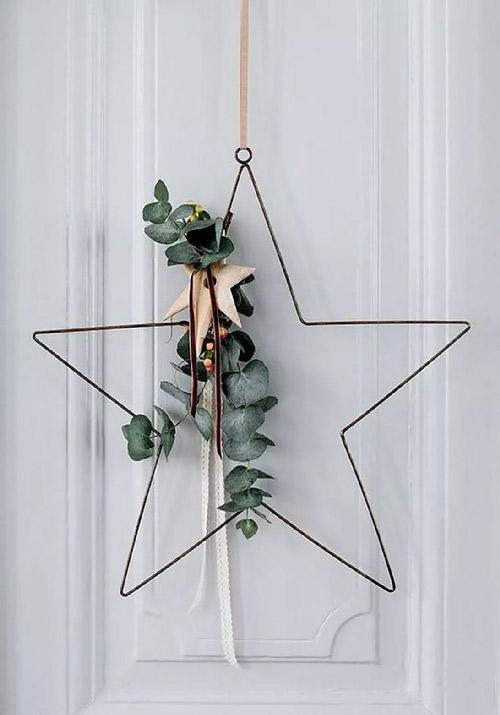 Inspiration. Etoile filaire. Vue d'une étoile en métal filaire ornée d'eucalyptus et d'une petite étoile en bois. Une valeur sûre.