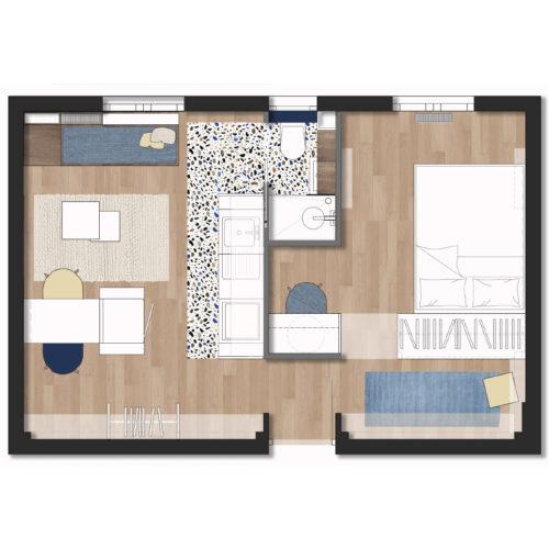 Plan d'un appartement à rénover sur Paris.