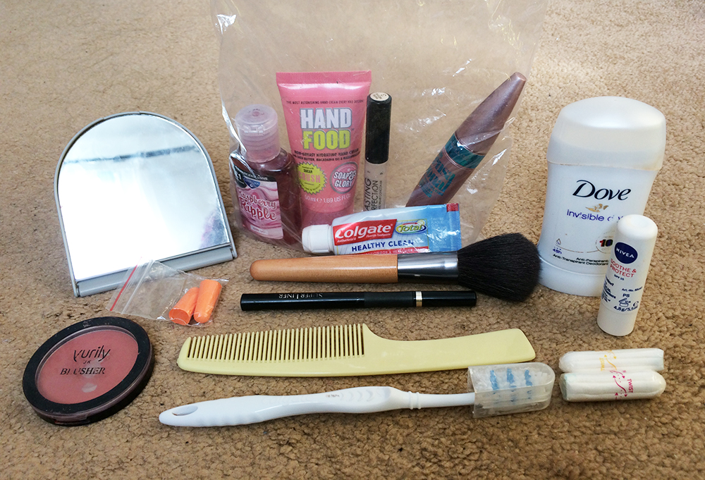 Cosmetics and toiletries long haul carry on luggage