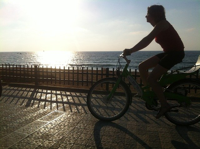 Cycling during sunset