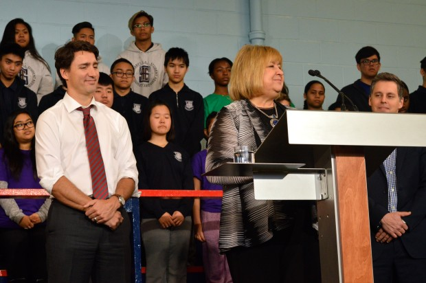 Prime Minister Justin Trudeau and Minister of Employment, MaryAnn Mihychuck, at Dovercourt Boys & Girls Club in Toronto on Feb. 12.