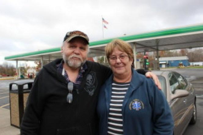 Steve Louis and Mary Lou King at the TA Travel Center near Brownesville, PA. (Fallon Hewitt/Skedline)