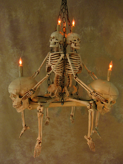 Skeleton Chandelier With Three Femur Bones And Skulls