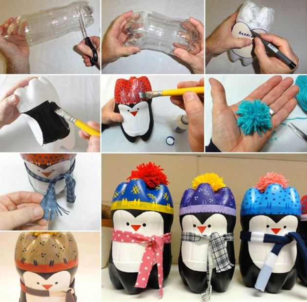 creative penguin plastic bottle