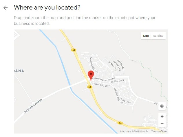 Google Business Location on the Map