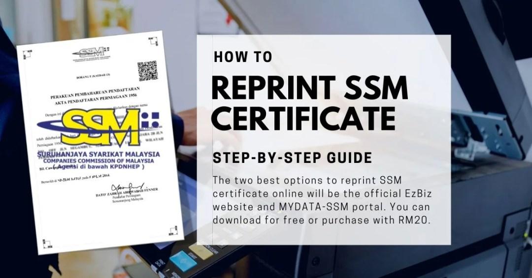 Reprint SSM Certificate online