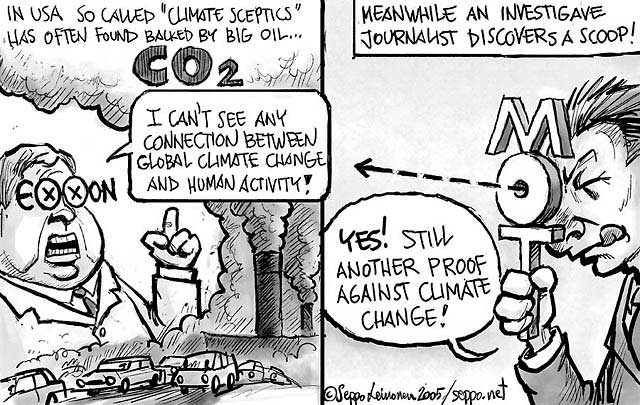 climate change global warming science sceptics cartoon myth scientific denial cartoons claim exxonmobil corporations breitbart papers say skeptical exxon oil
