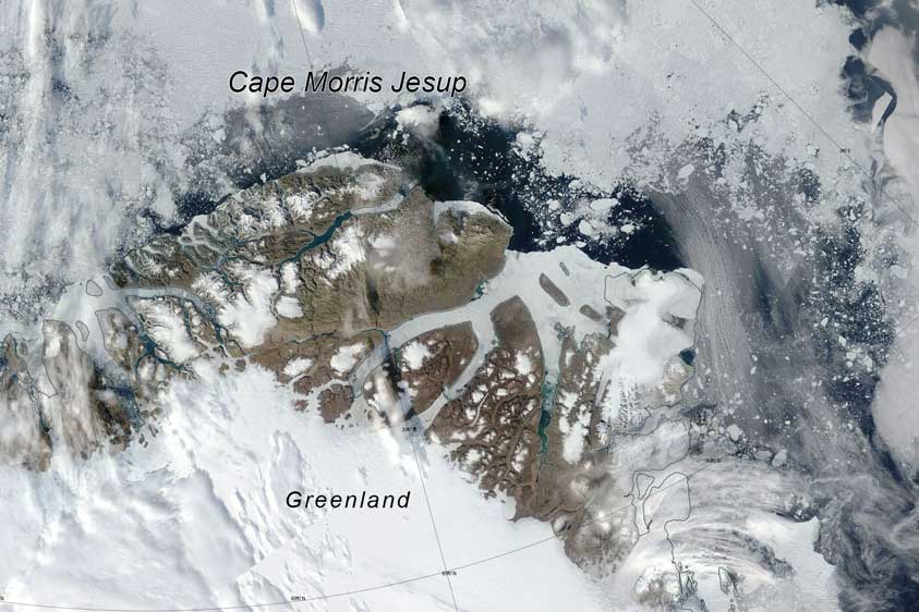 missing sea ice off north greenland coast