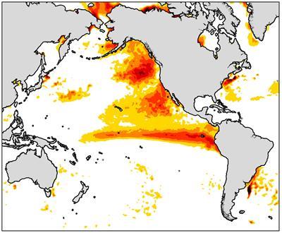 Global Warming increases Marine heatwaves