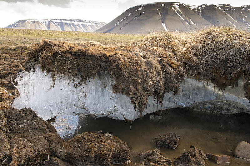 Permafrost melting in Svalbard, Norway.