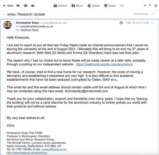 Christopher Exley resignation(?) email