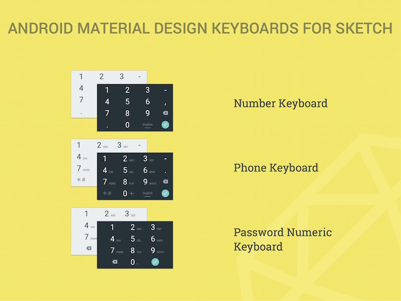Android Material Design Numeric Keyboards Sketch Freebie Download Free Resource For Sketch