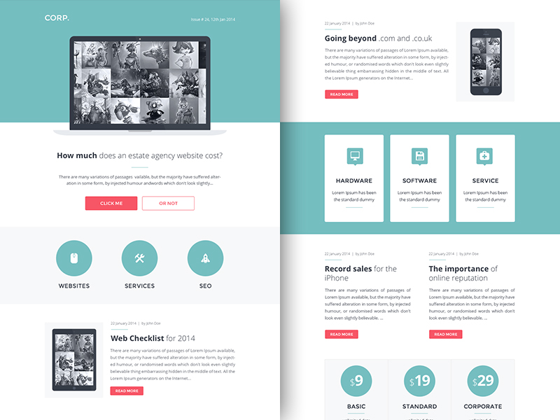 RocketWay Email Templates Sketch Freebie Download Free