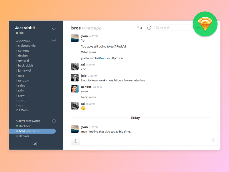 Slack And WhatsApp Integration Concept Sketch Freebie Download Free Resource For Sketch