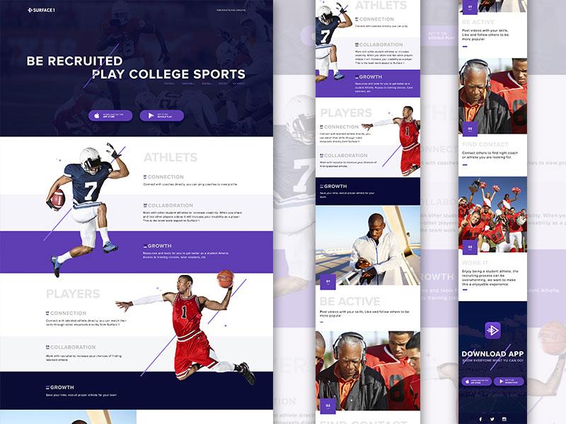 Sports App Landing Page Template Sketch Freebie Download