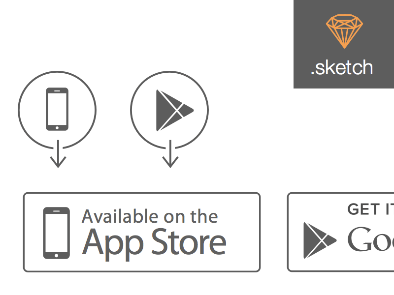 Apple App Store and Google Play Store Icons Sketch freebie