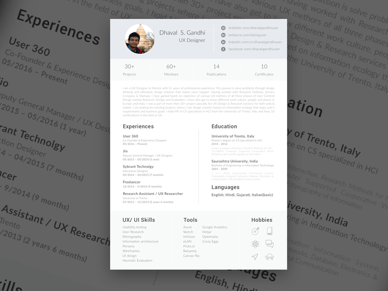 free single page resume website template