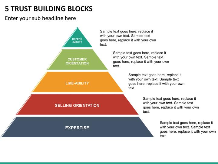 5 Trust Building Blocks PowerPoint Template SketchBubble