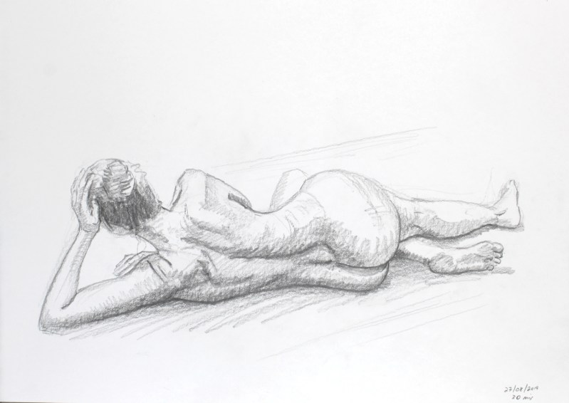 Female nude lying on her side |