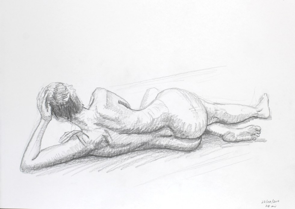 Female nude lying on her side  