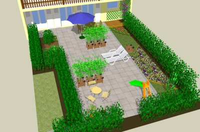 Picture of SketchUp 3D model of a roof terrace project