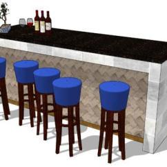 Kitchen Island Counter Chairs 厨房岛服务柜台 草图大师模型下载 Sketchup模型库 Su模型 草图大师中文网