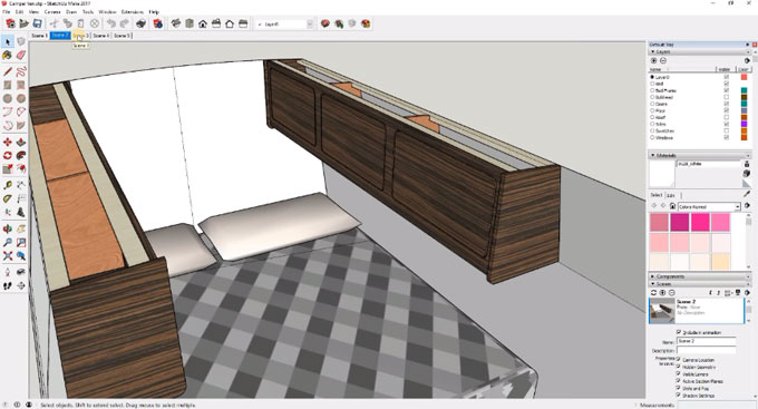 How to create the design of a camper van with the free version of sketchup make 2017
